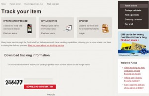 Example of Fake version of Australia Post Website